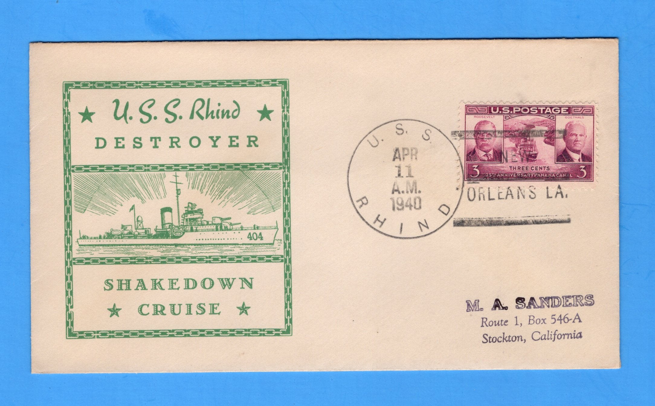 USS Rhind DD-404 Shakedown Cruise New Orleans April 11, 1940