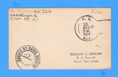 USS Shangri-La Sailor's Censored Free Mail During Shakedown Dec 15, 1944