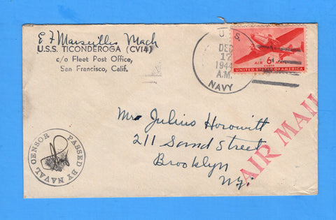 USS Ticonderoga CV-14 Sailor's Censored Mail Dated Dec 17, 1944 During Typhoon