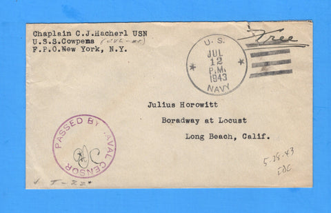 USS Cowpens CVL-25 Sailor's Censored Free Mail During Shakedown July 12, 1943