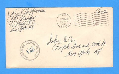 USS Ranger CV-4 Sailor's Censored Free Mail March 22, 1943