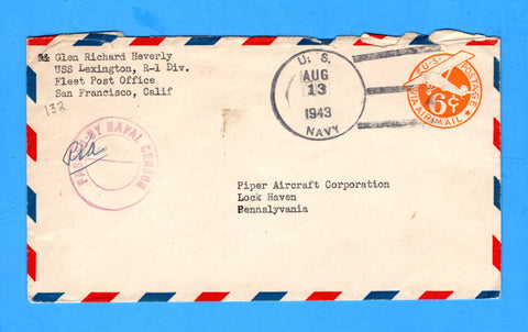 USS Lexington CV-16 Sailor's Censored Mail Pearl Harbor August 13, 1943