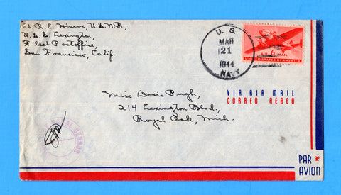 USS Lexington CV-16 Sailor's Censored Mail w/ Task Force 58 Mar 21, 1944