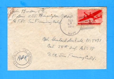 USS Bennington CV-20 Sailor's Censored Mail Ulithi, Caroline Islands Feb 7, 1945