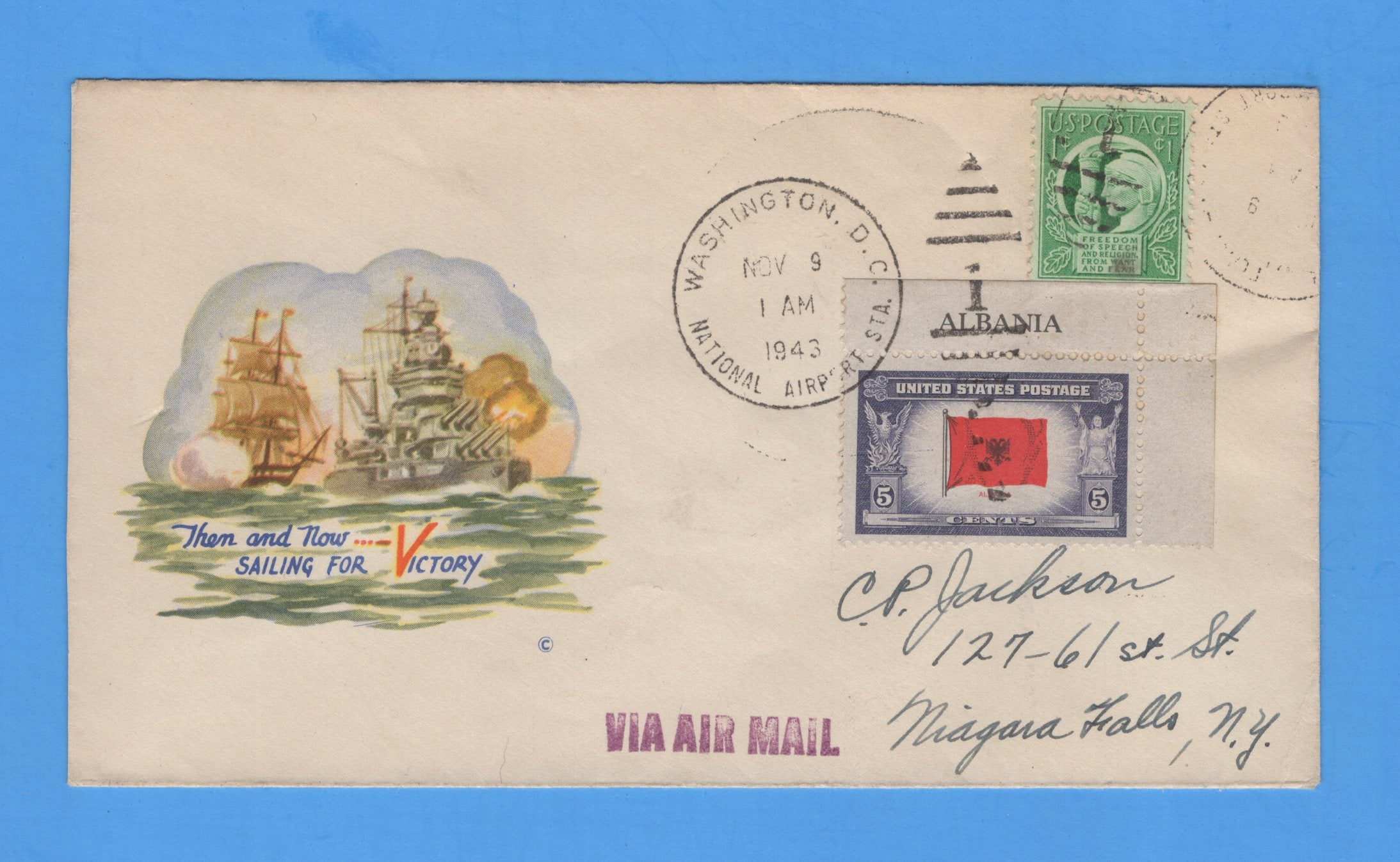 Scott 918 Overrun Nations Albania Sailing for Victory FDC on Minkus Patriotic