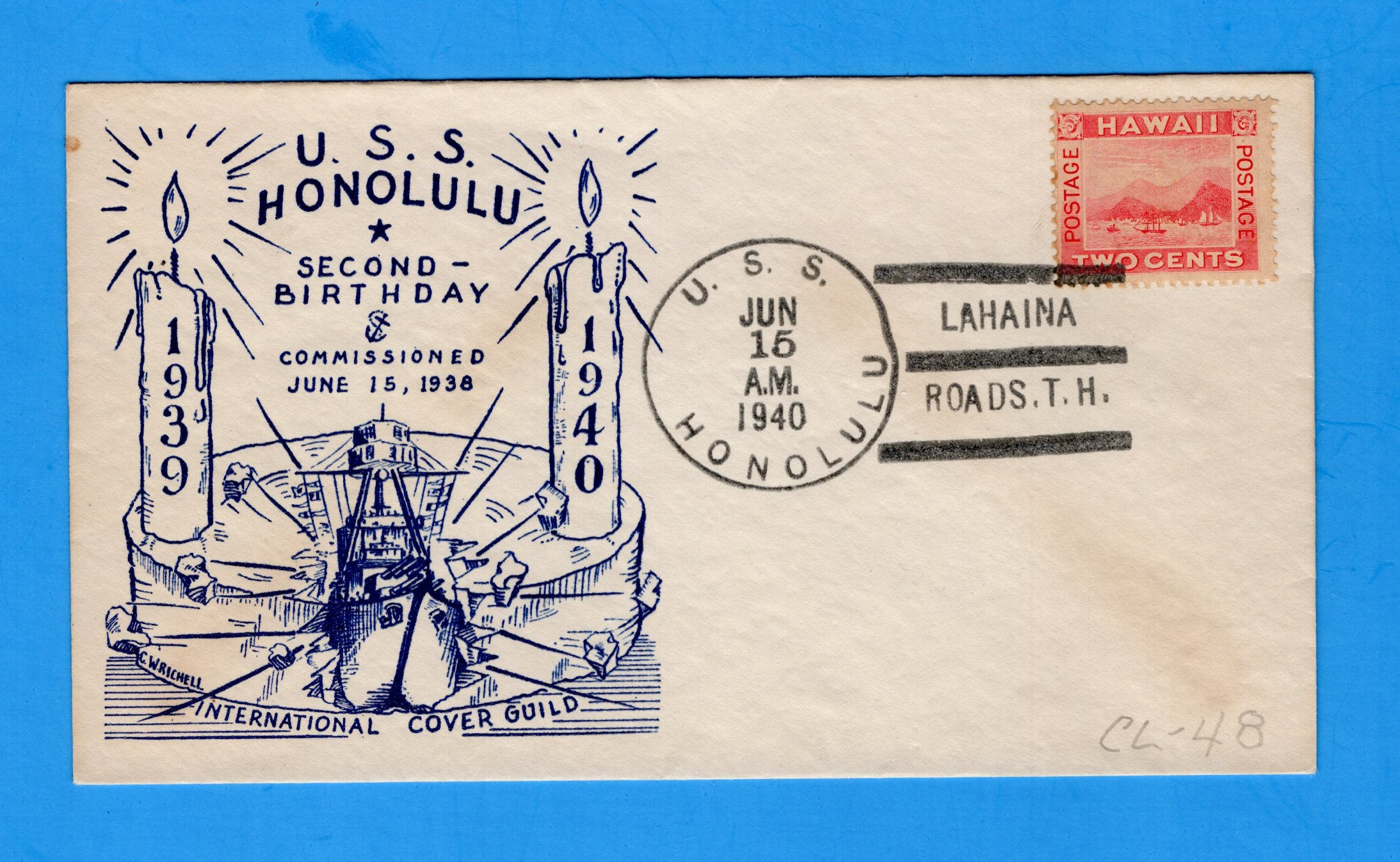 USS Honolulu CL-48 1939 2nd Anniversary June 16, 1940 Franked Hawaii Stamp