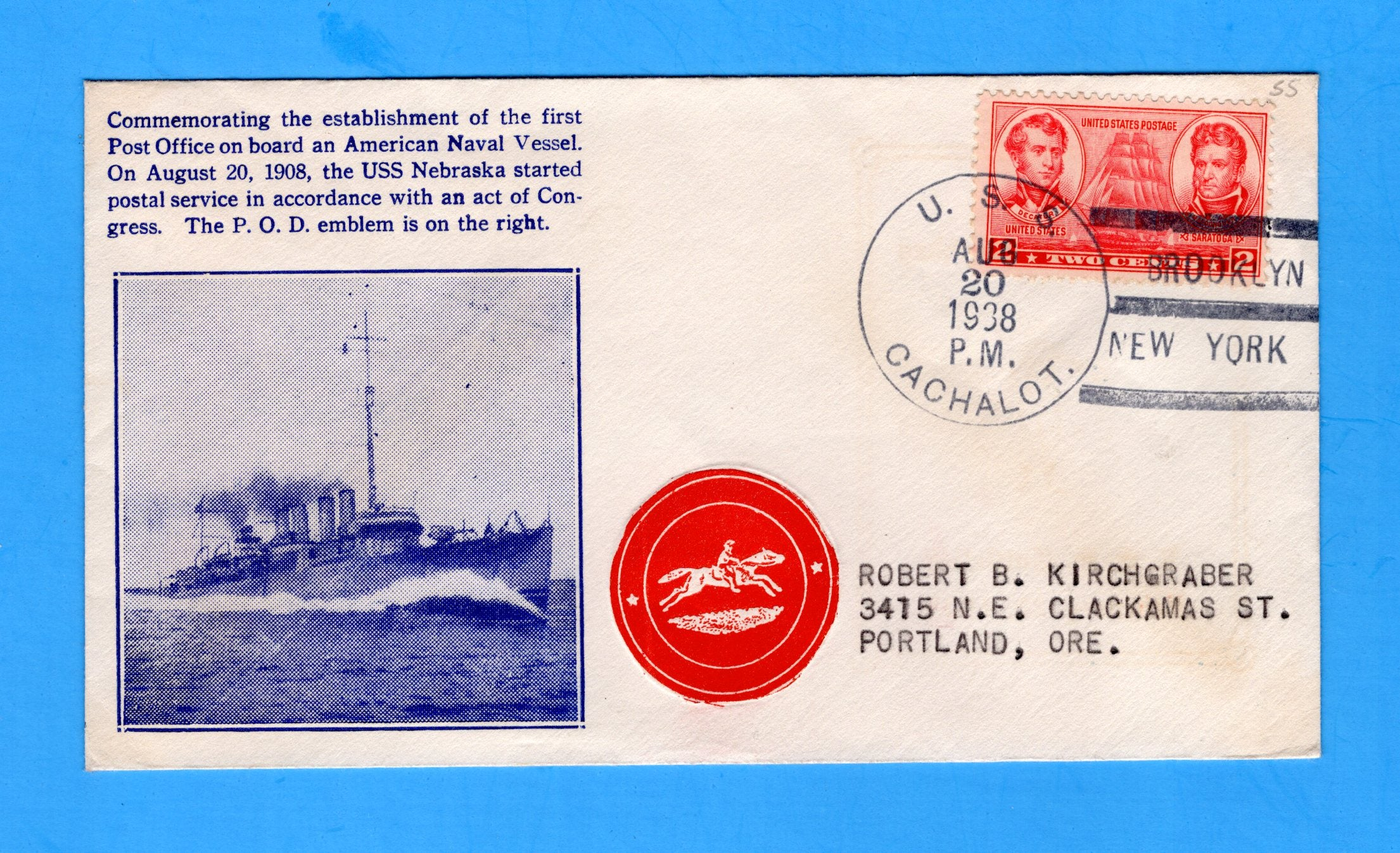 USS Cachalot SS-170 Commemorating First Naval Post Office August 20, 1938