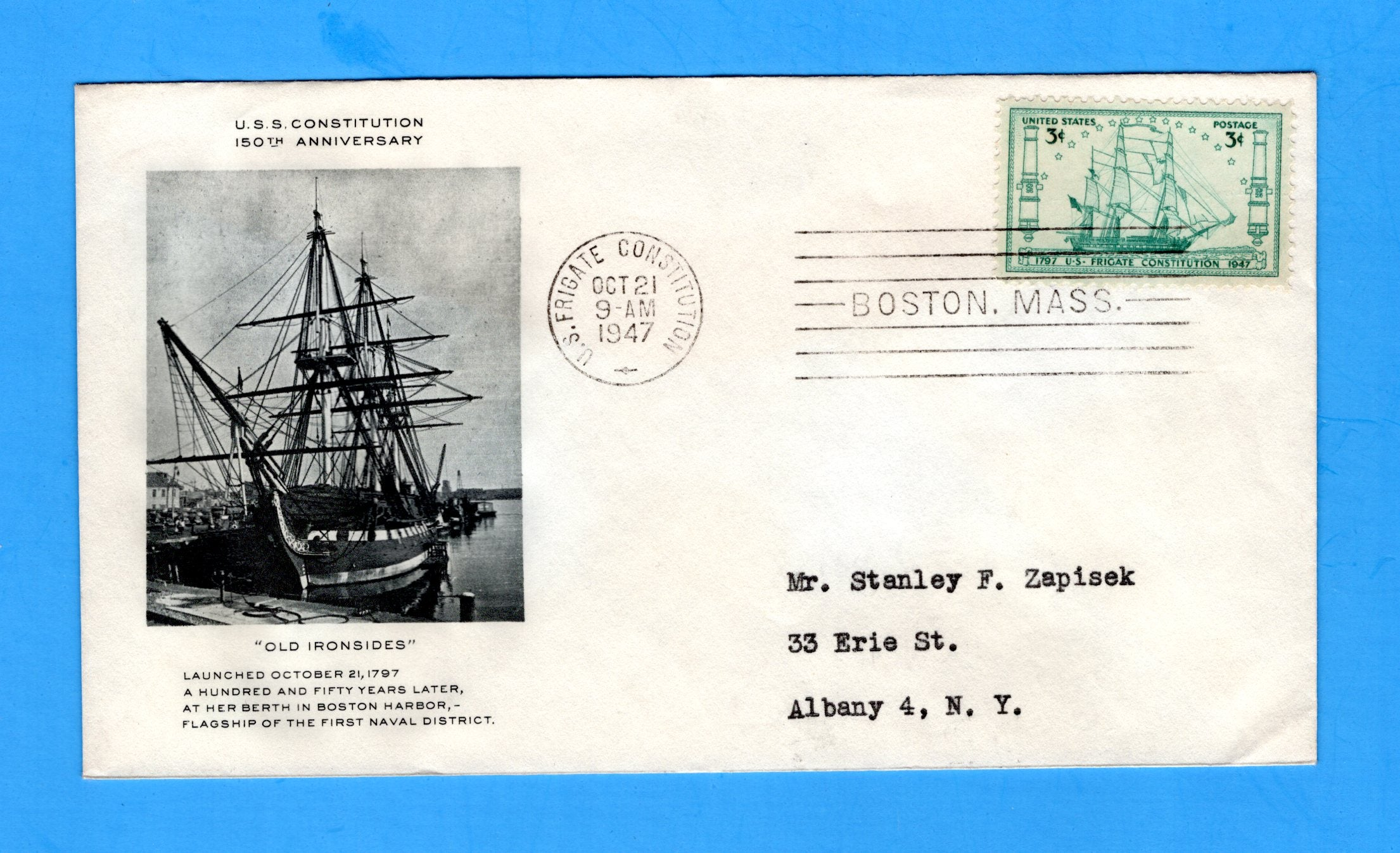 U.S. Frigate Constellation First Day Cover for Scott 951 Mellone #33