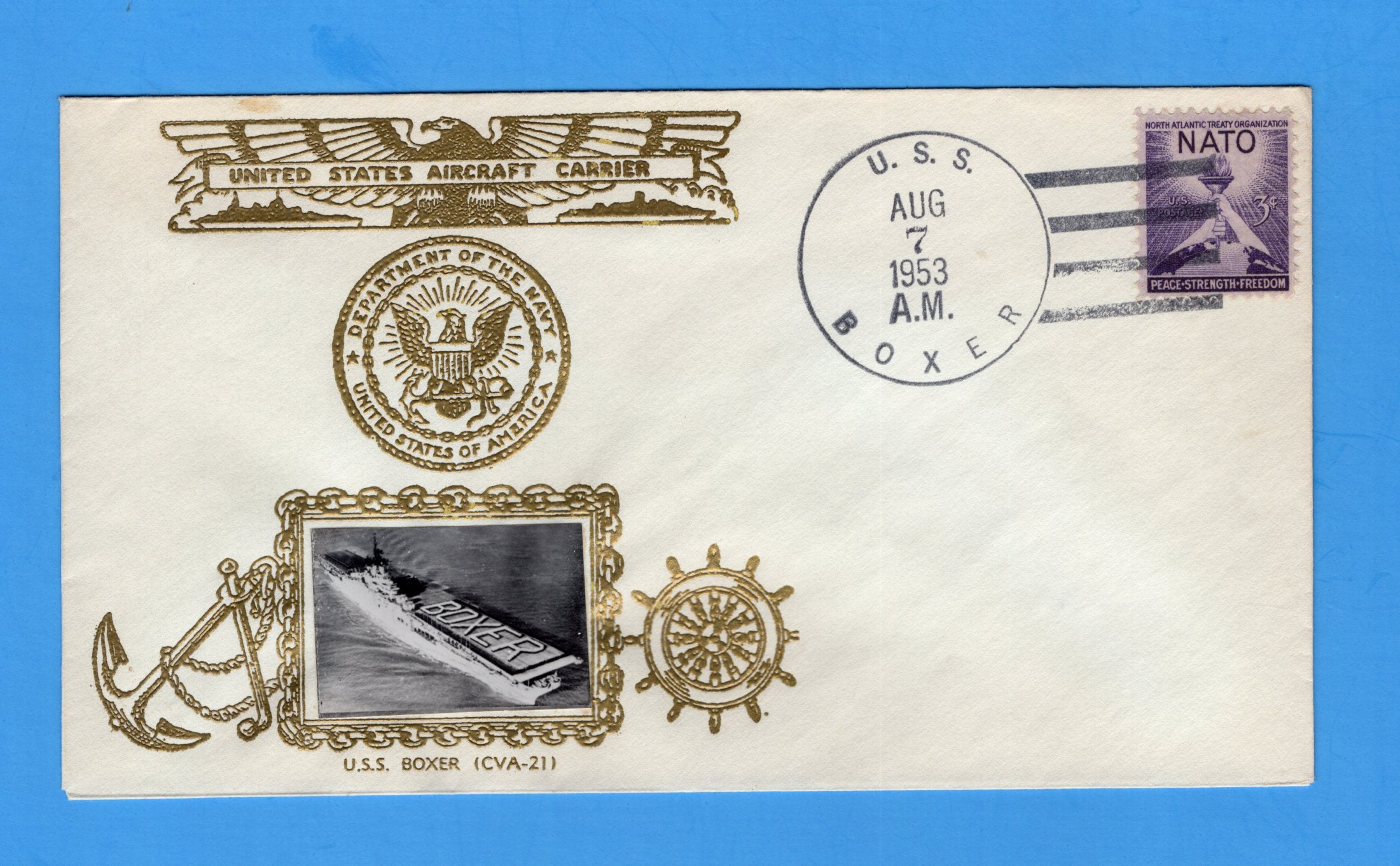 USS Boxer CVA-21 August 7, 1953 Raised Print Photo Cachet