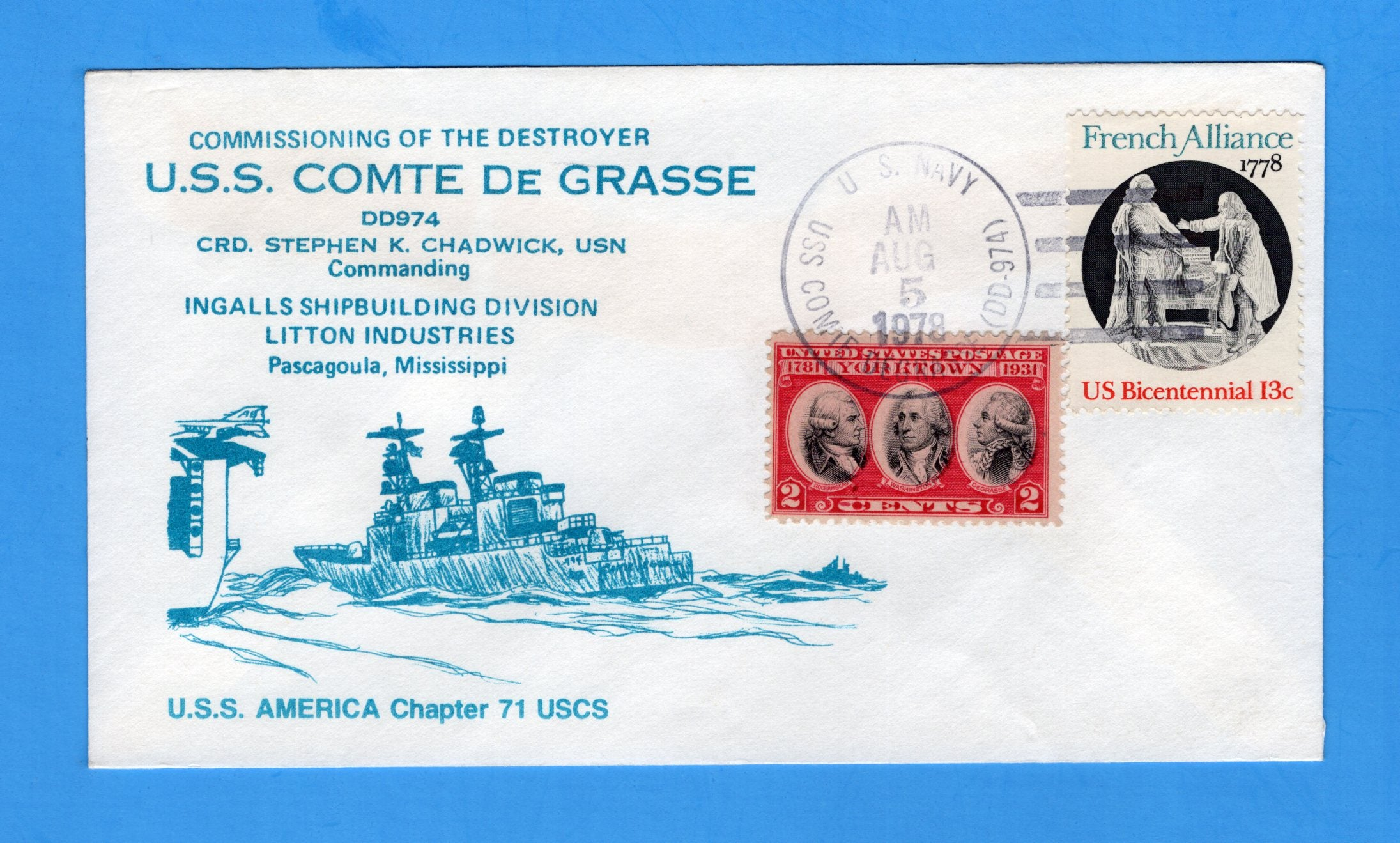 USS Comte De Grasse DD-974 Commissioned August 5, 1978