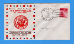 USS Charles H. Roan DD-853 Commissioned September 12. 1946 - Raised Print Cachet