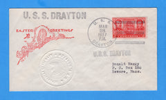 USS Drayton DD-366 Easter Greetings March 28, 1937