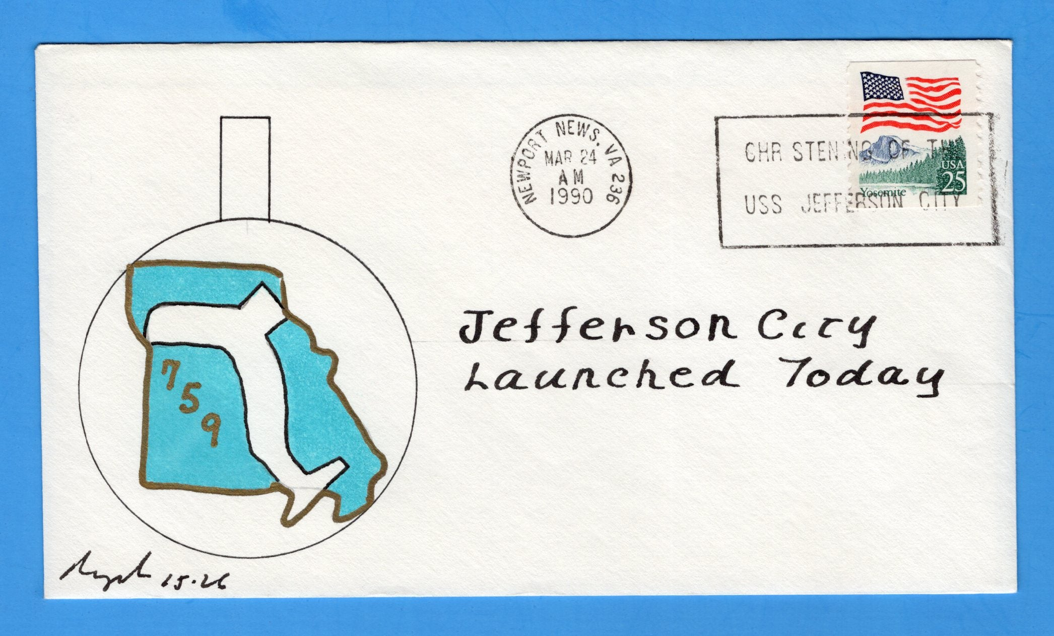 USS Jefferson City SSN-759 Launched & Christened March 24, 1990 - Rogak Cachet