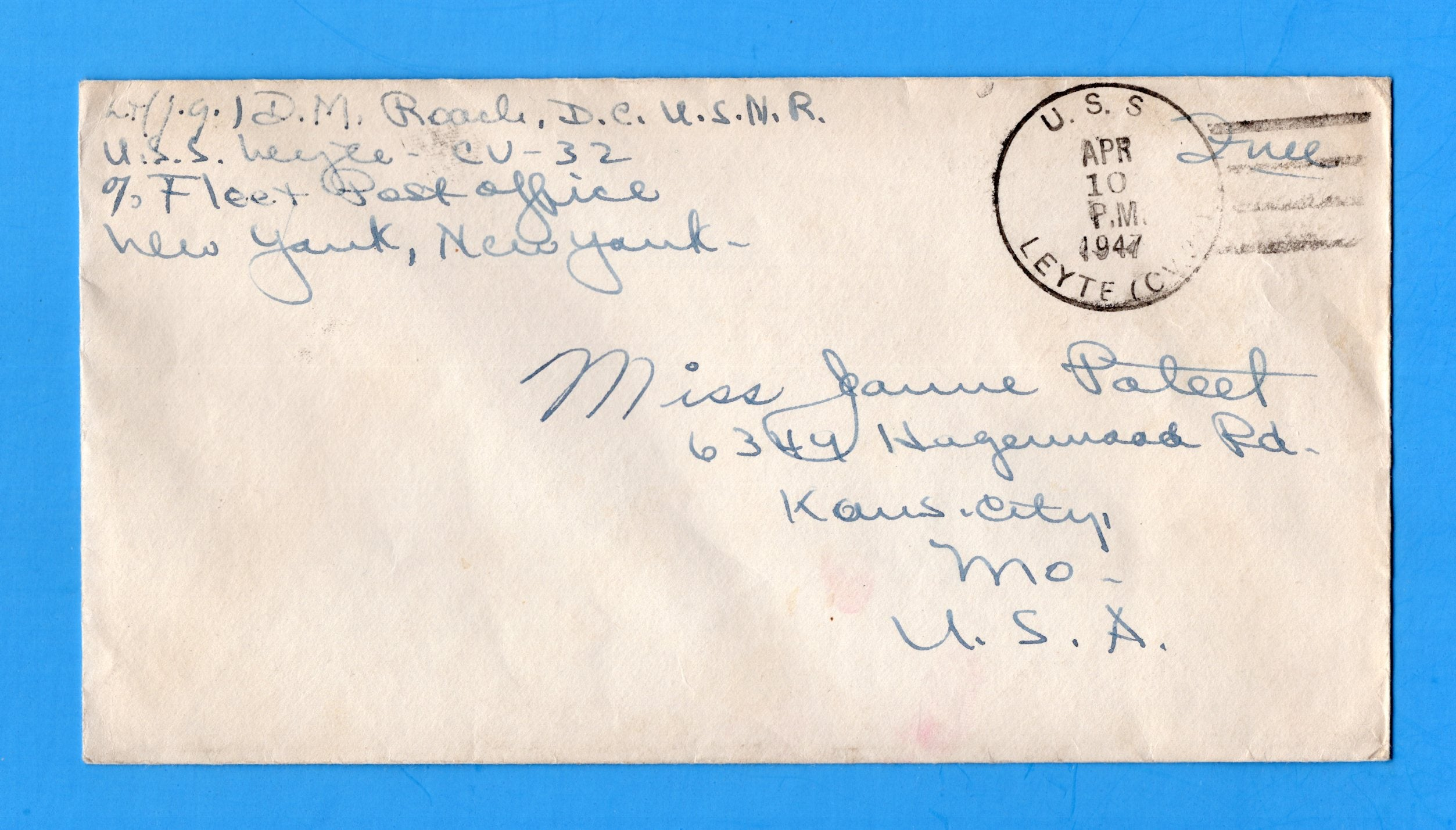 "USS Leyte CV-32 Sailor's ""Free"" Mail April 10, 1947 Deployed in Mediterranean"