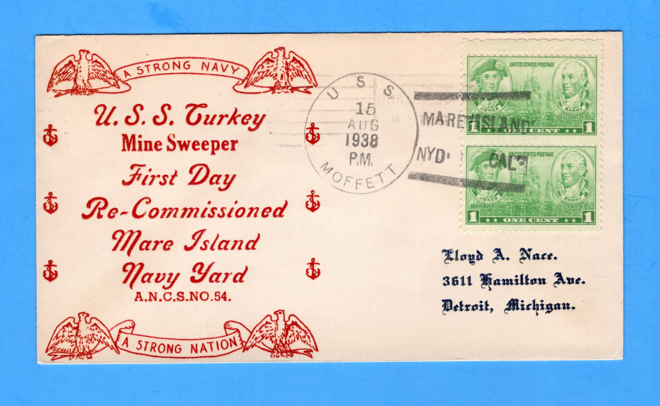 USS Turkey AM-13 Recommissioned August 15, 1938 - USS Moffett Cancel - Raised Print Cachet