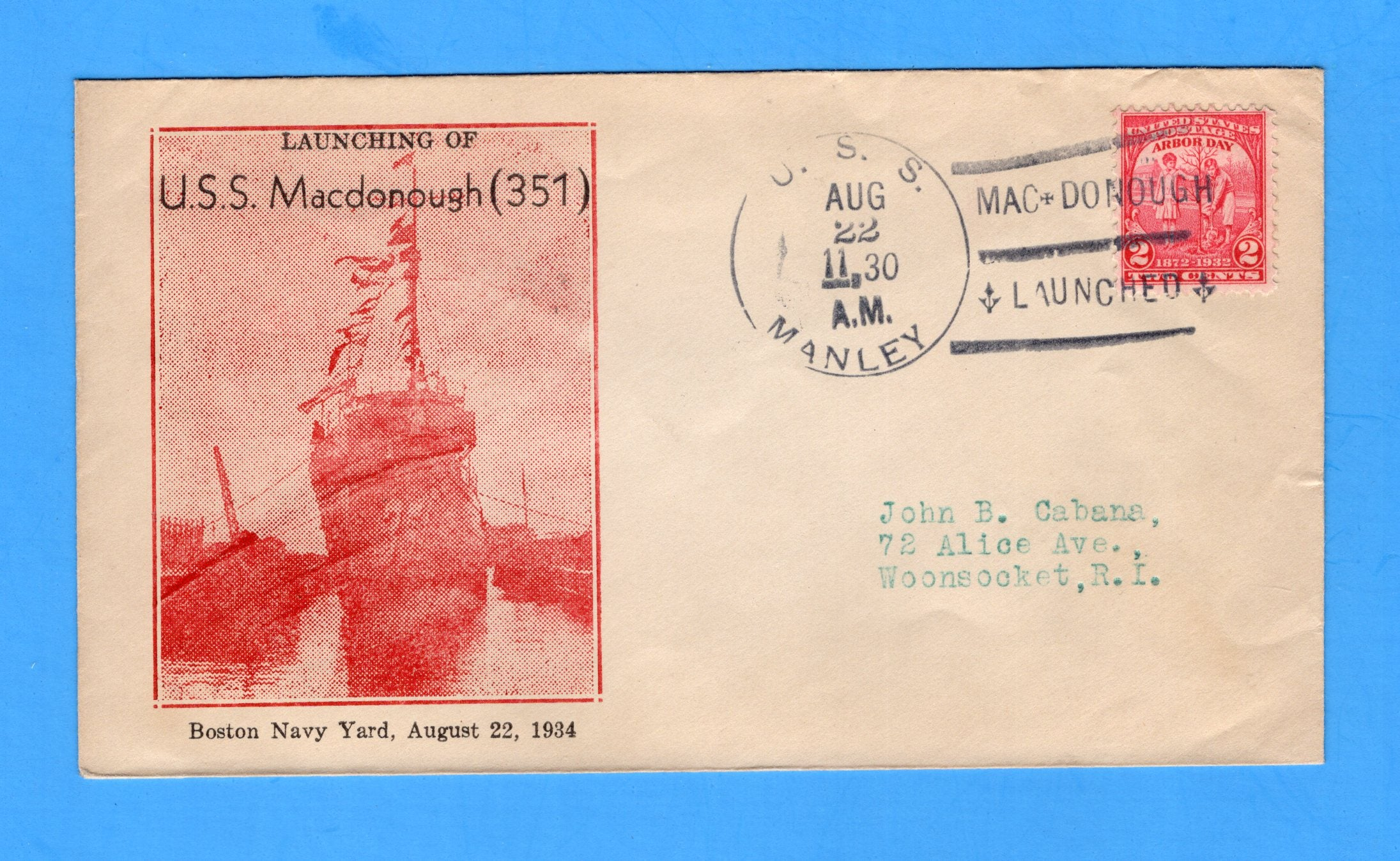 USS MacDonough DD-351 Launched August 22, 1934 - Cancelled USS Manley