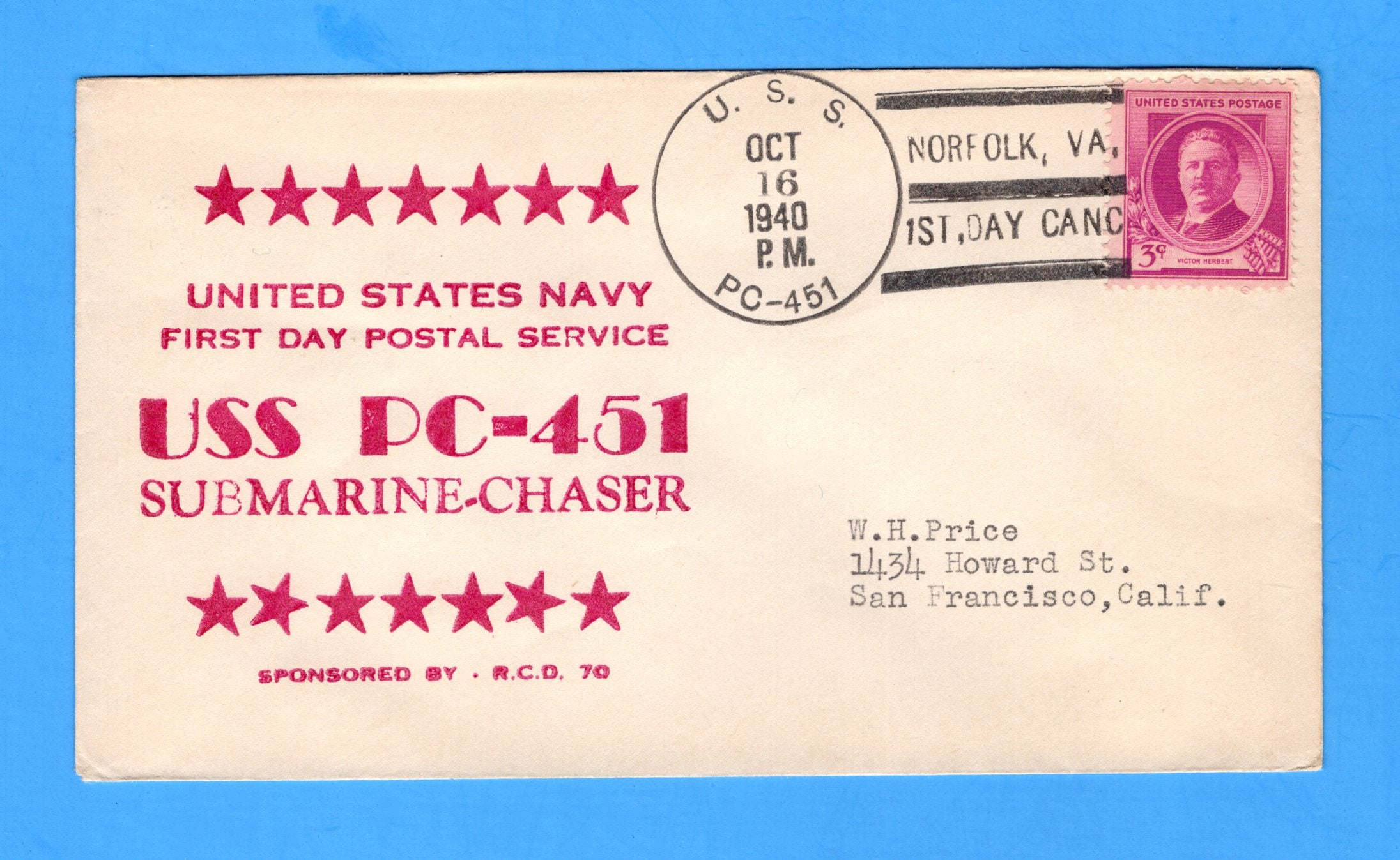 Submarine Chaser USS PC-451 First Day Postal Service October 16, 1940