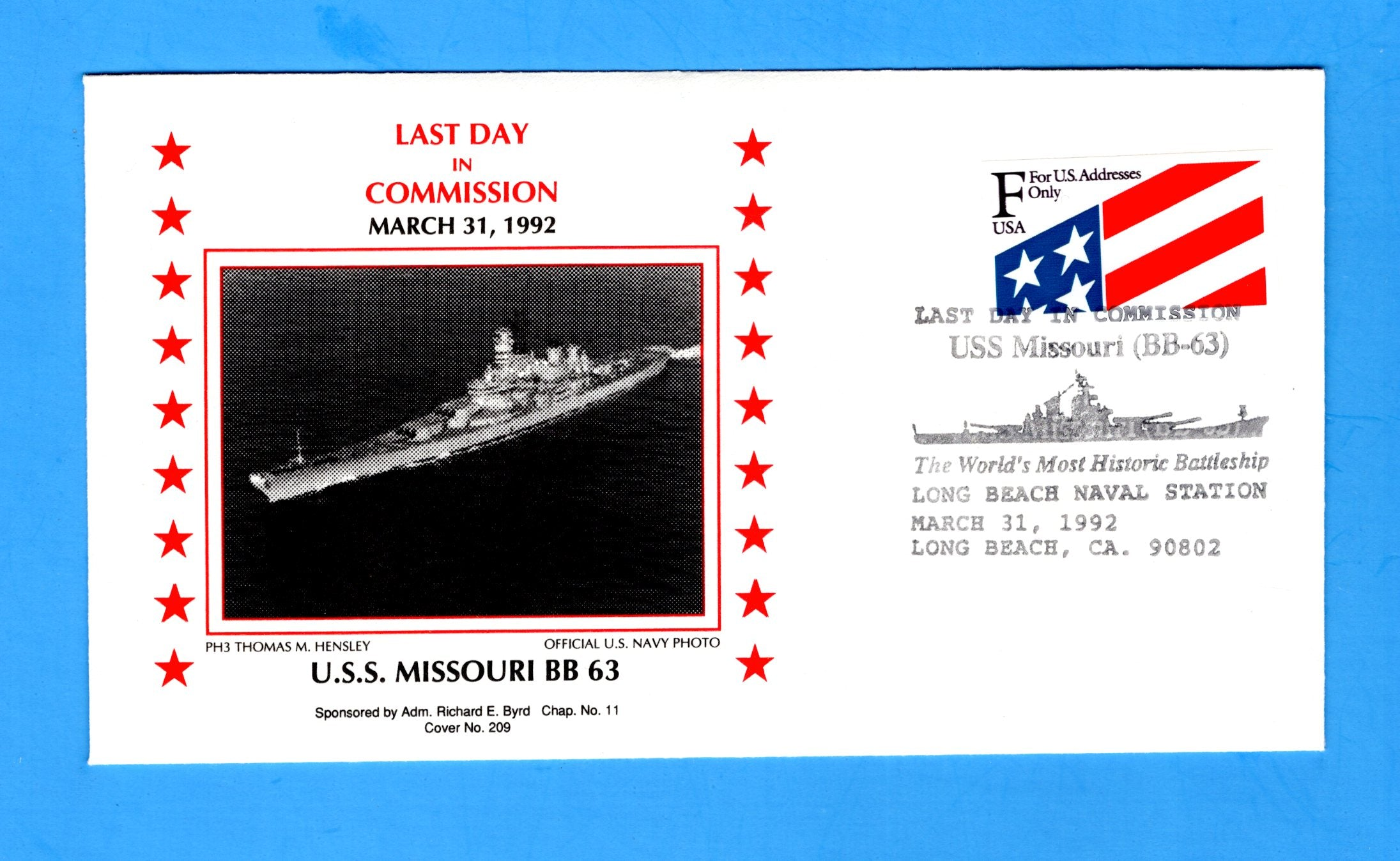 USS Missouri BB-63 Last Day in Commission March 31, 1992