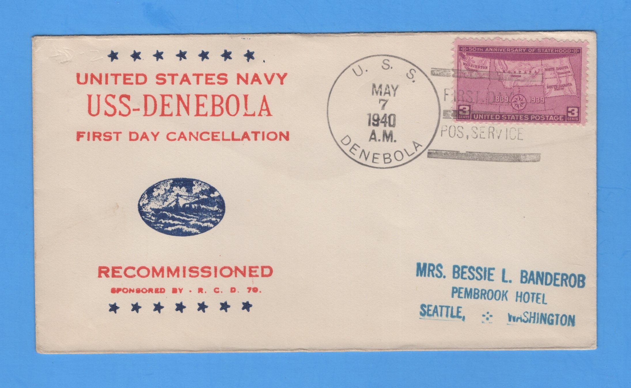 USS Denebola AD-12 First Day Postal Service after Recommission May 7, 1940