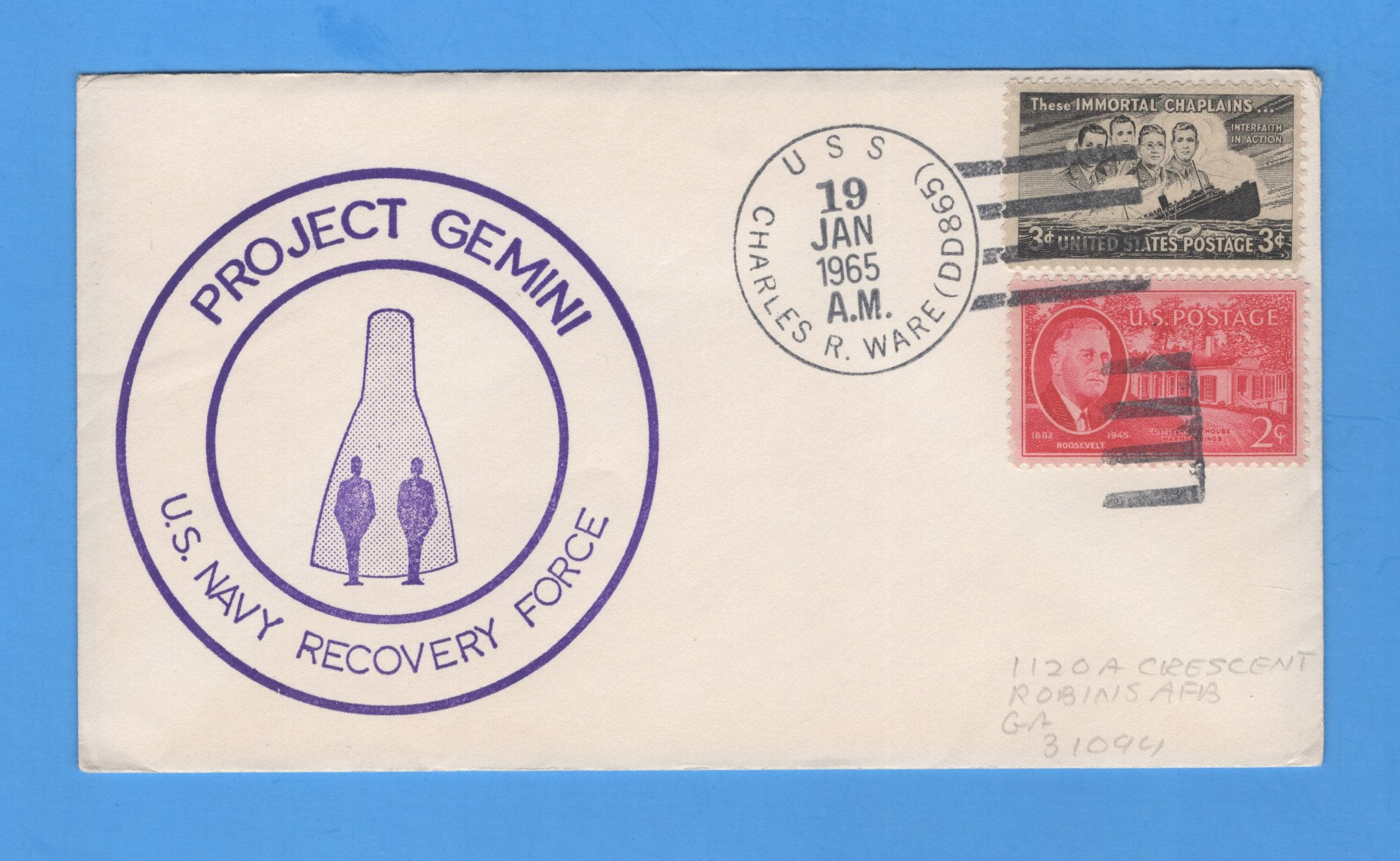 USS Charles R. Ware DD-865 Gemini 2 Navy Recovery Force January 19, 1965