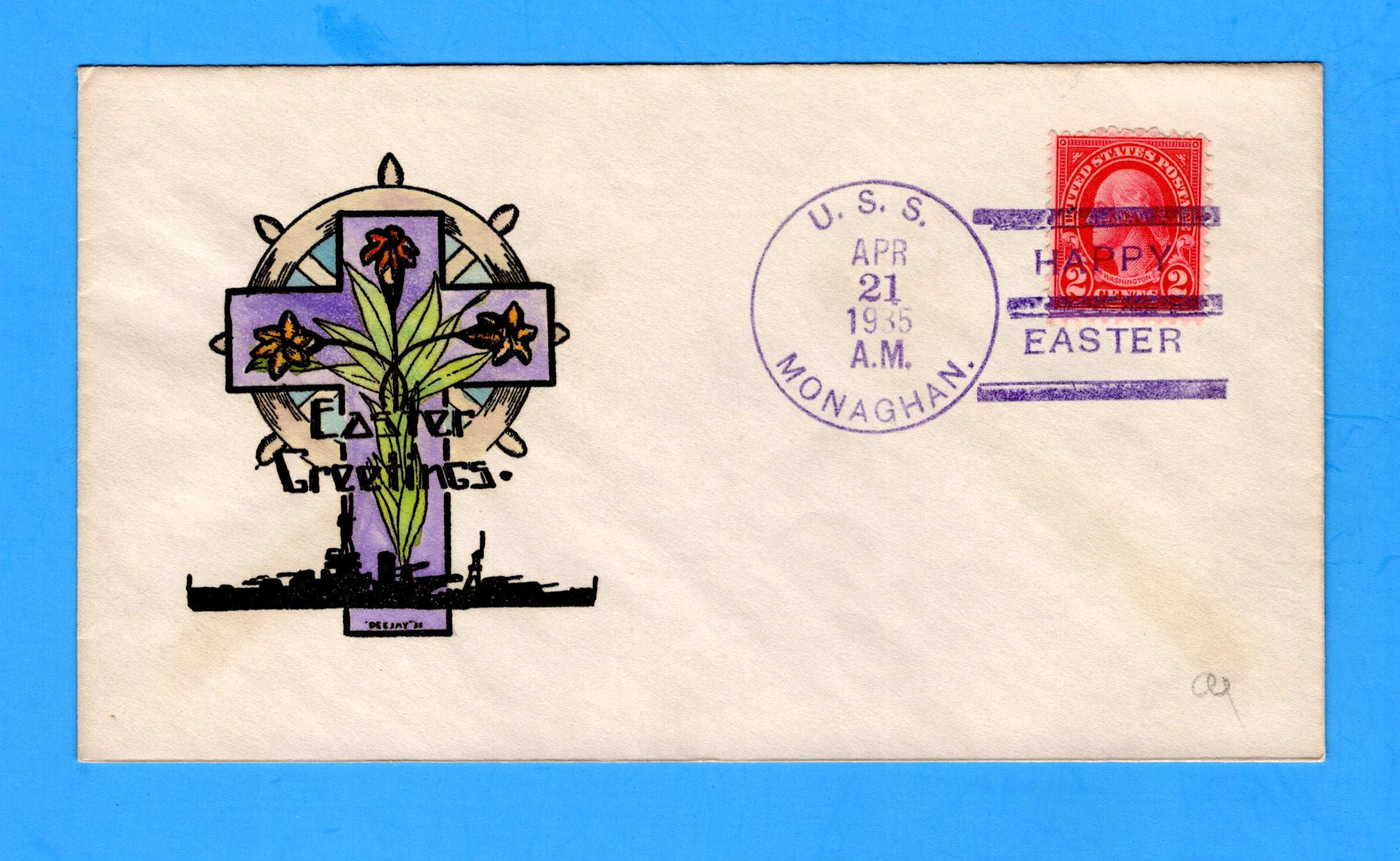USS Monaghan DD-354 Easter April 21, 1935 - Raised Print Hand Colored Cachet