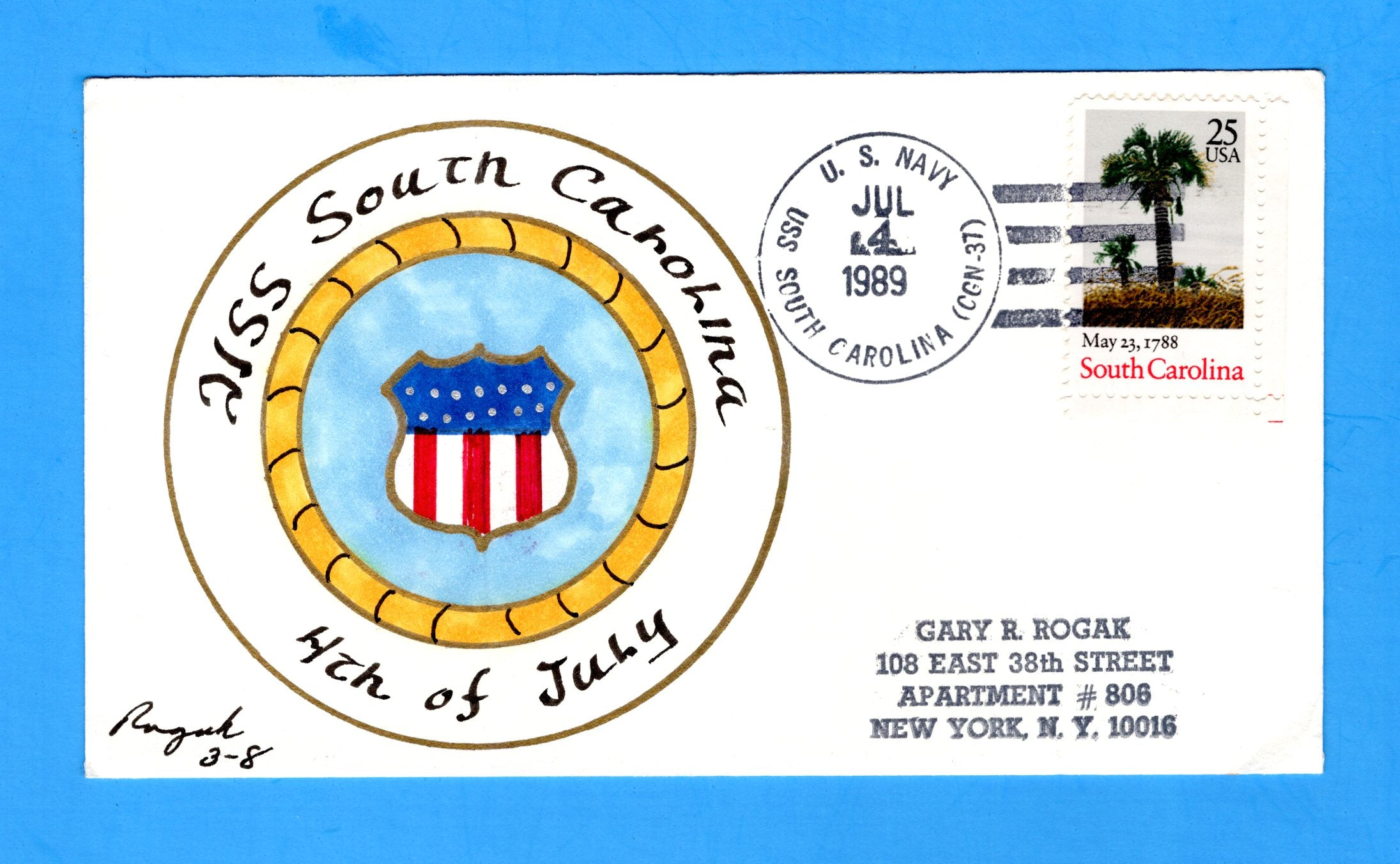 USS South Carolina CGN-37 Fourth of July 1989 - Rogak Cachet
