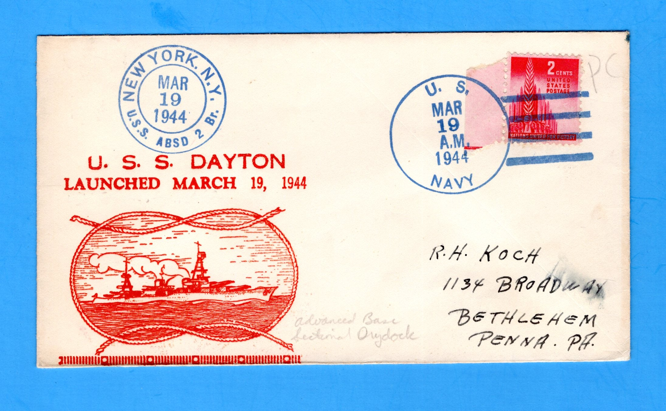 USS Dayton CL-105 Launched March 19, 1944 - Raised Print Cachet Cancelled USS ABSD-2
