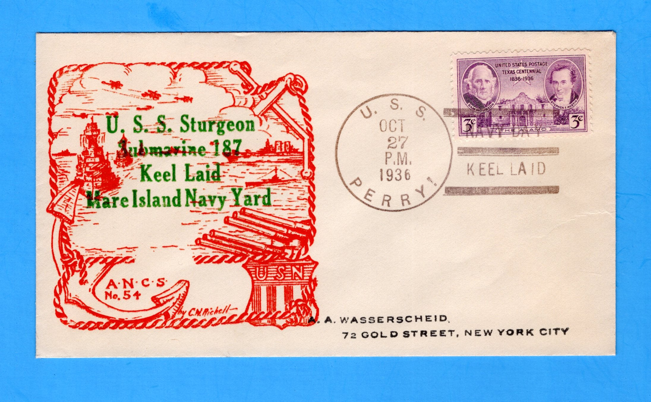USS Sturgeon SS-187 Keel Laid October 27, 1936 - Raised Print Cachet - Cancelled USS Perry