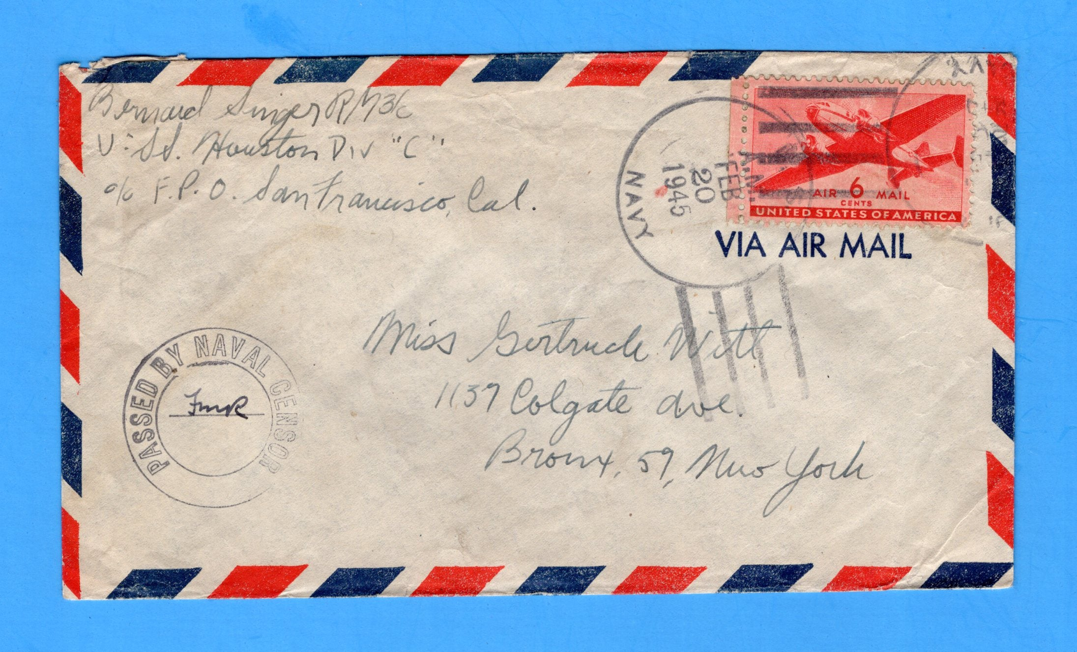 USS Houston CL-81 Sailor's Censored Mail Feb 20, 1945 To N.Y. after Battle of Formosa