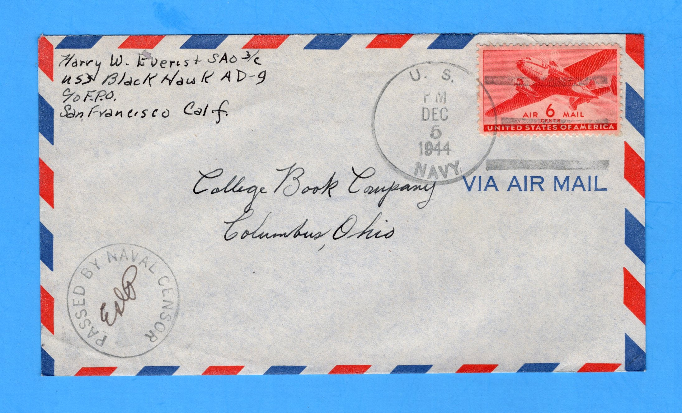 USS Black Hawk AD-9 Sailor's Censored Mail December 5, 1944 - Adak, Alaska