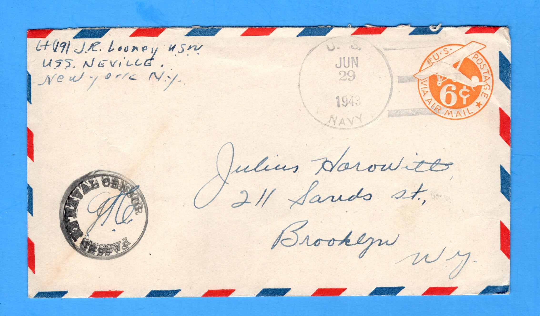 USS Neville APA-9 Sailor's Censored Mail June 29, 1943 - North Africa