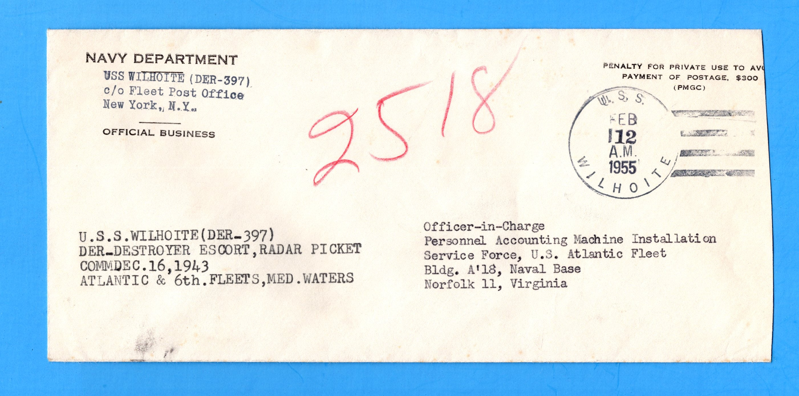 USS Wilhoite DER-397 Navy Department Official Mail February 12, 1955