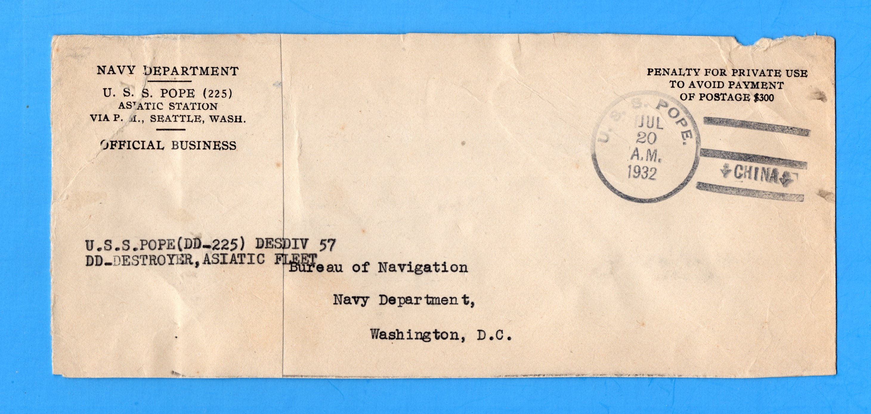 USS Pope DD-225 Navy Department Official Mail Asiatic Station China July 20, 1932 - Look Closely at Condition