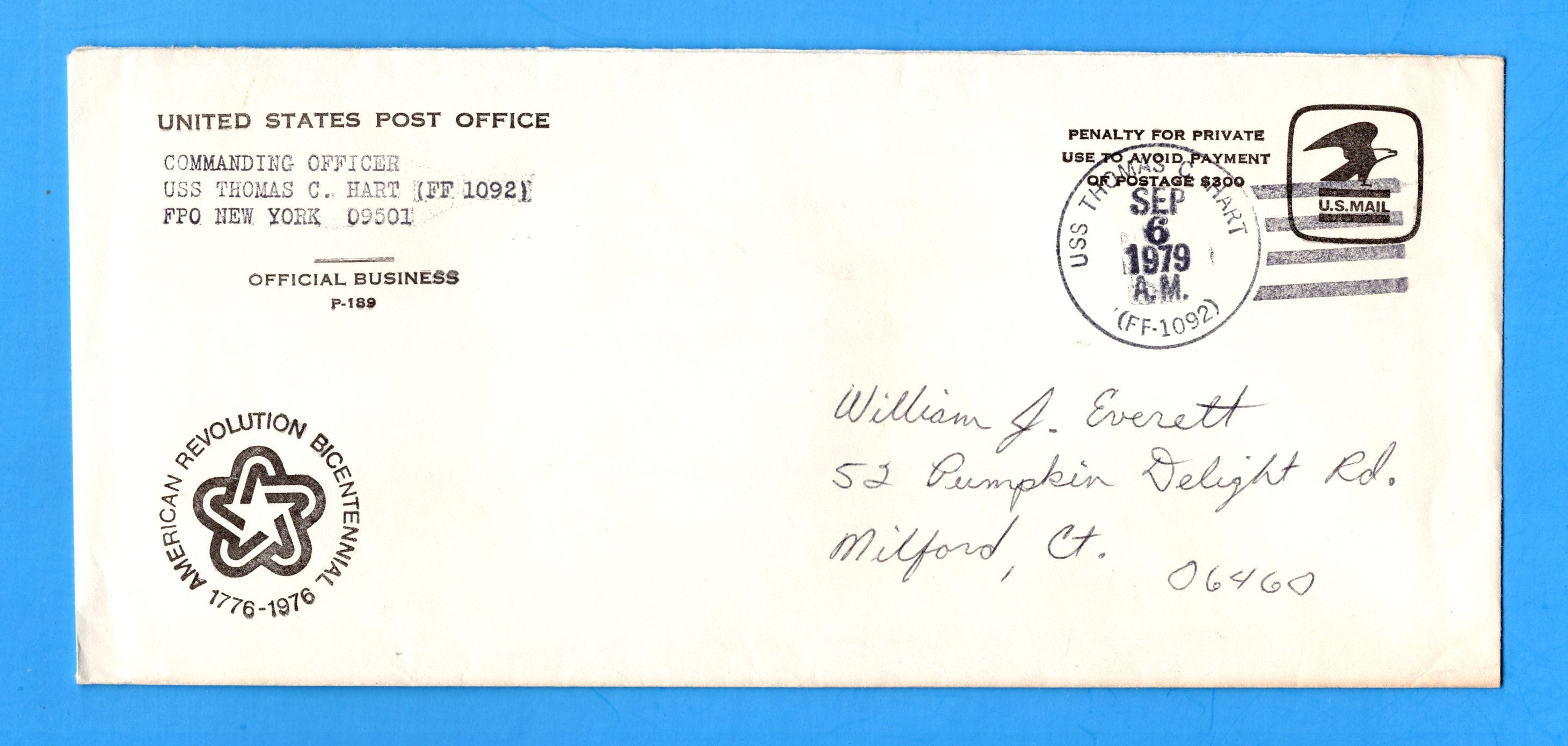 USS Thomas C. Hart FF-1092 Navy Department Official Mail September 6, 1979