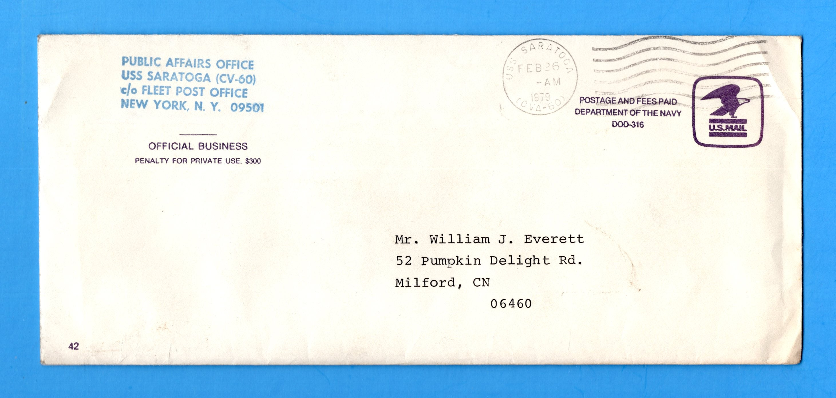USS Saratoga CV-60 Navy Department Official Mail February 26, 1979