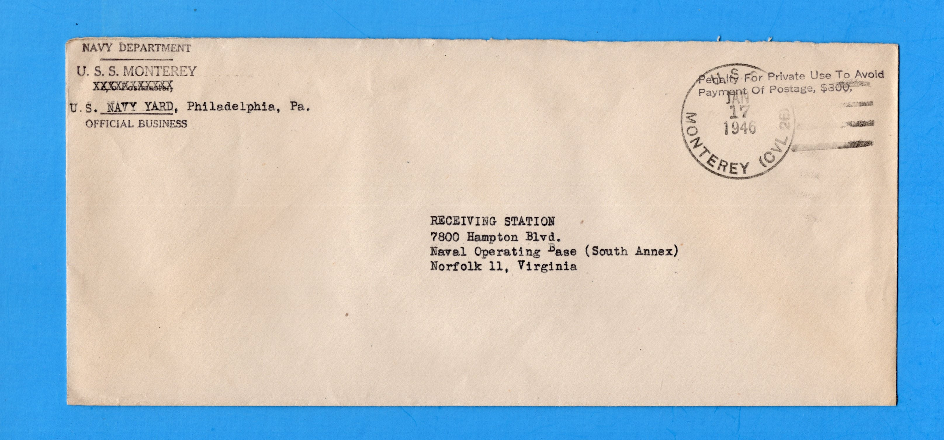 USS Monterey CVL-26 Navy Department Official Mail January 17, 1946