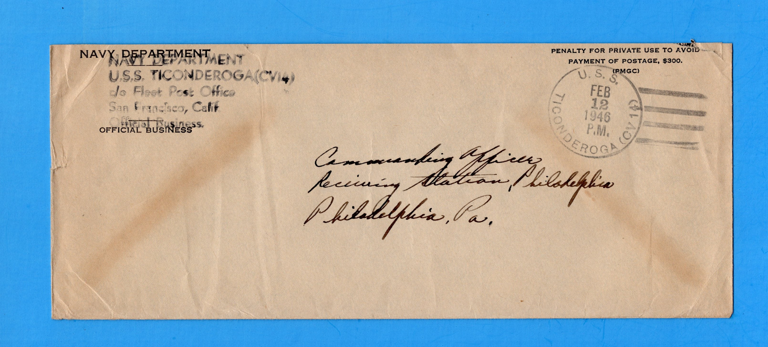 USS Ticonderoga CV-14 Navy Department Official Mail February 12, 1946