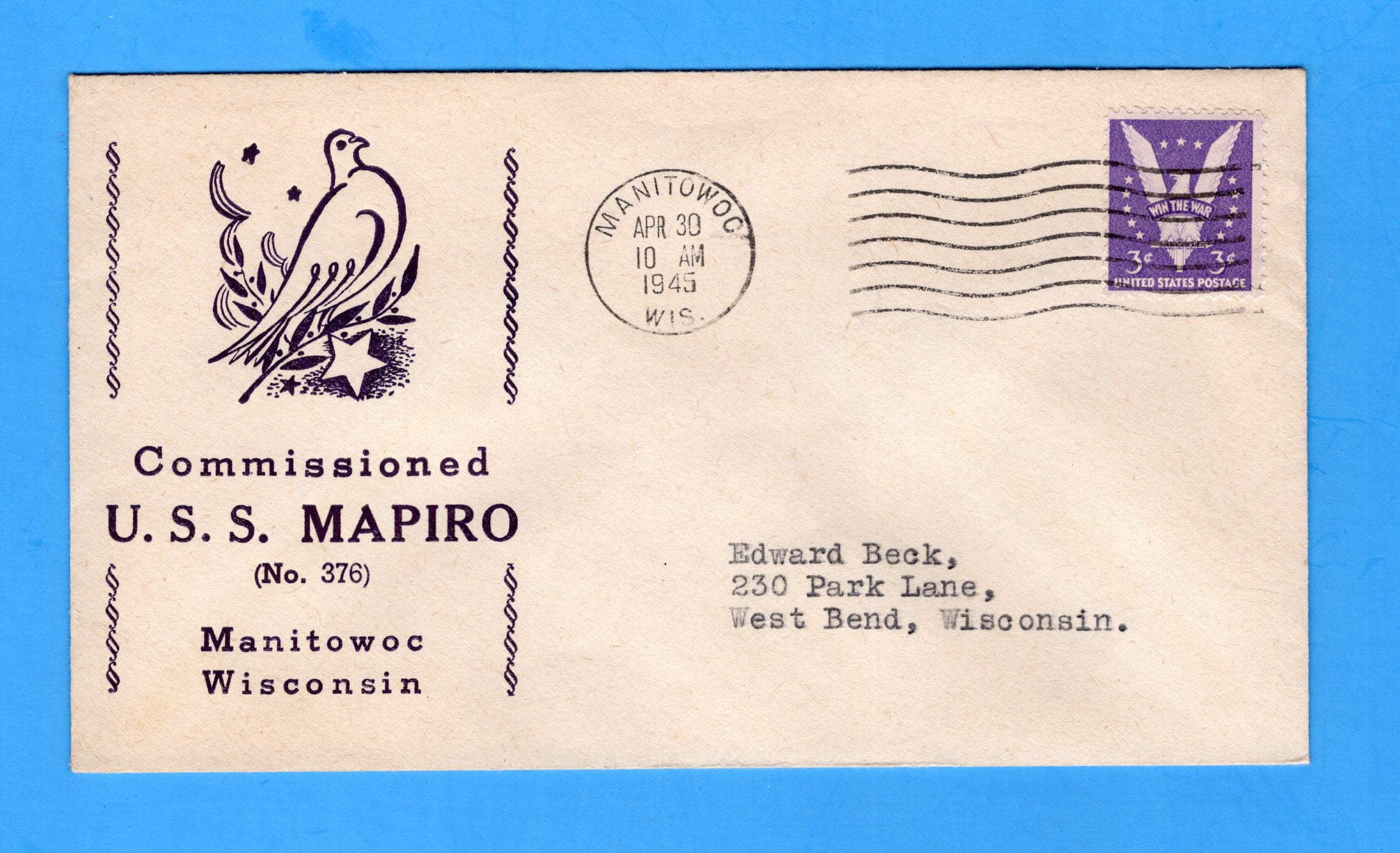 USS Mapiro SS-376 Commissioned  at Manitowoc, Wisconsin April 30, 1945
