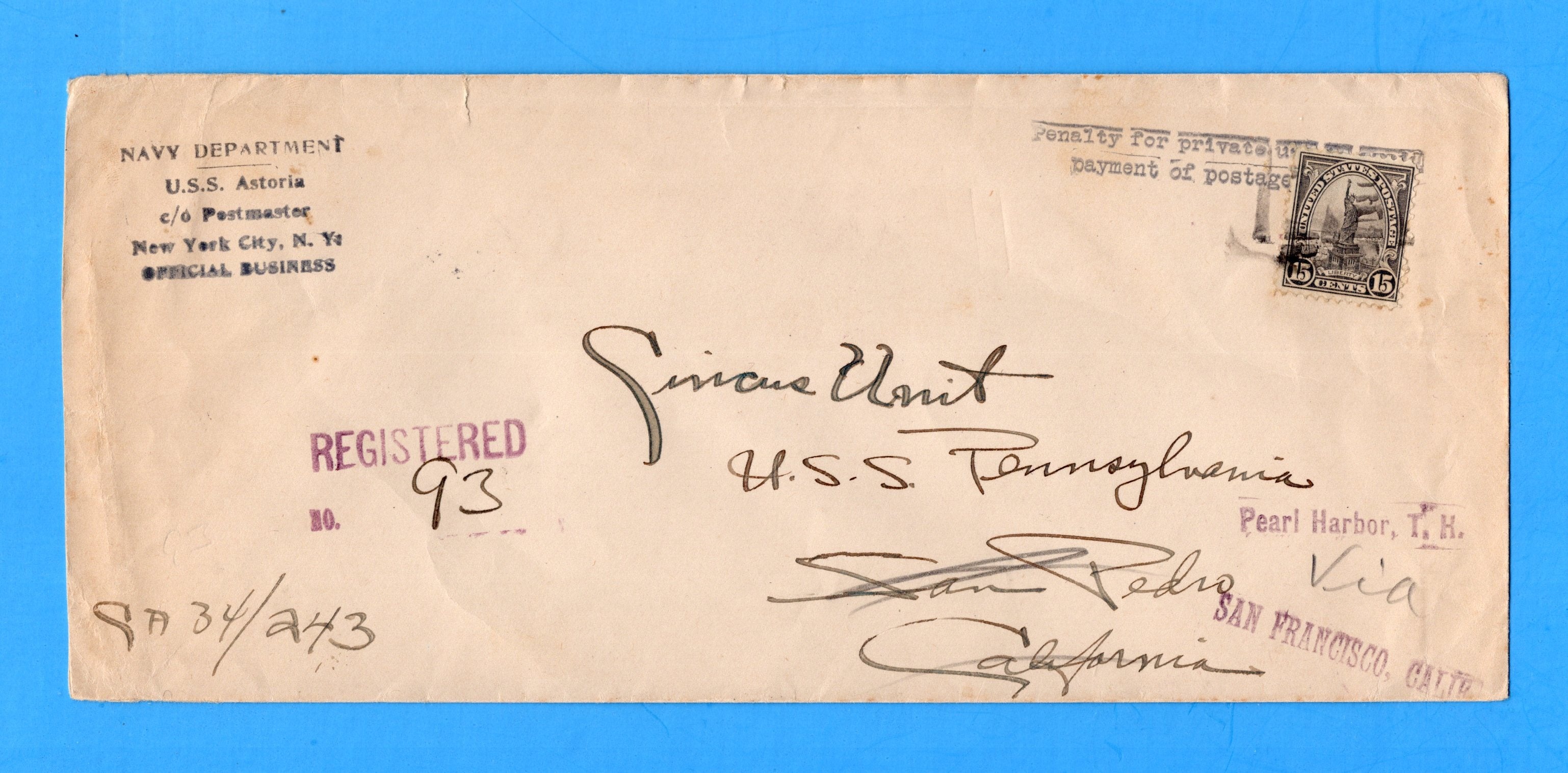 USS Astoria CA-34 Navy Department Registered Official Mail July 30, 1936