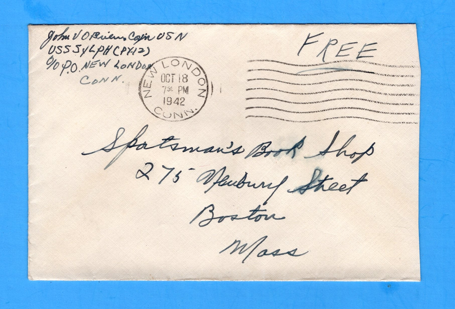 "USS Sylph PY-12 Sailor's ""Free"" Mail October 18, 1942"