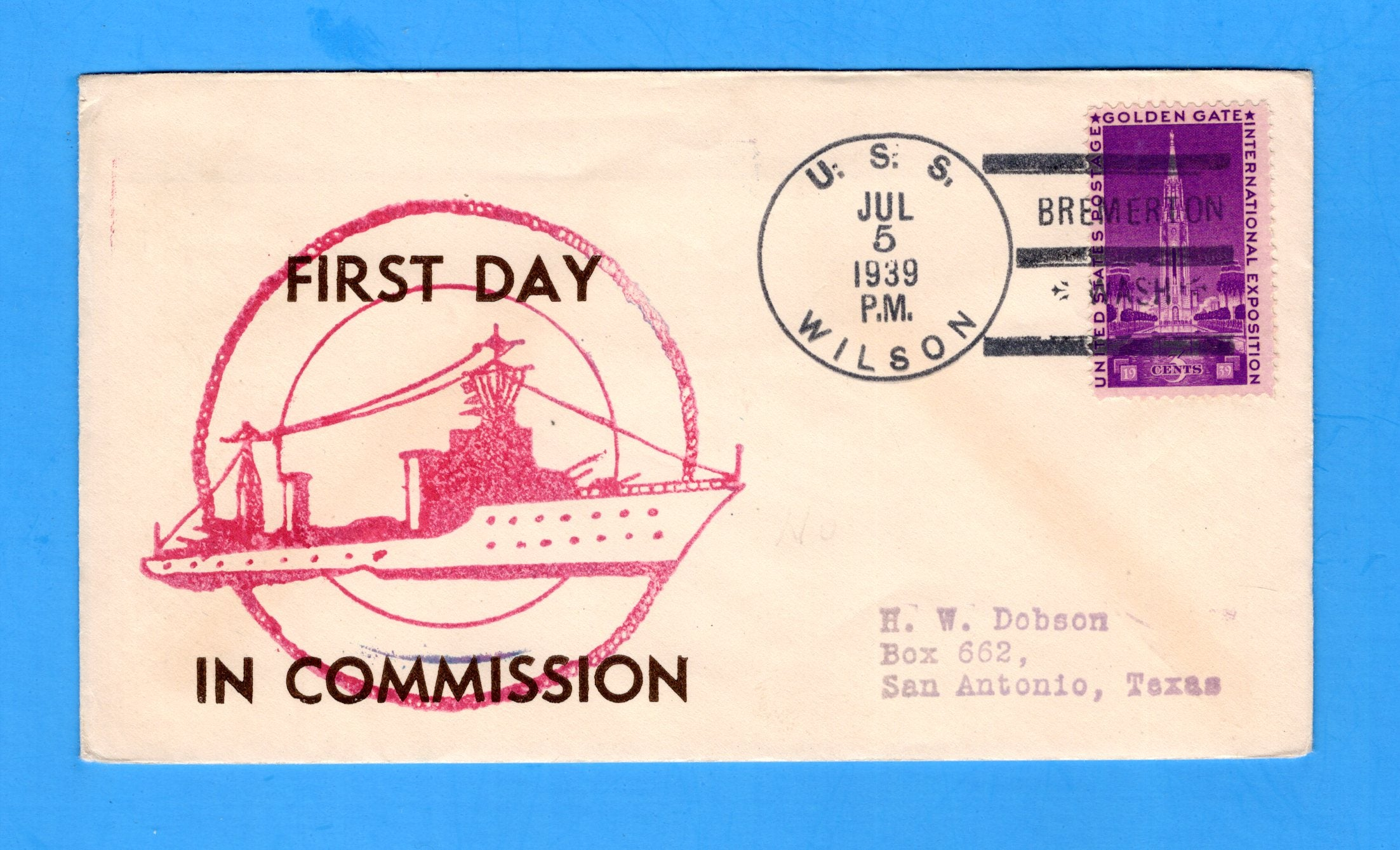 USS Wilson DD-408 Commissioned & FDPS July 5, 1939