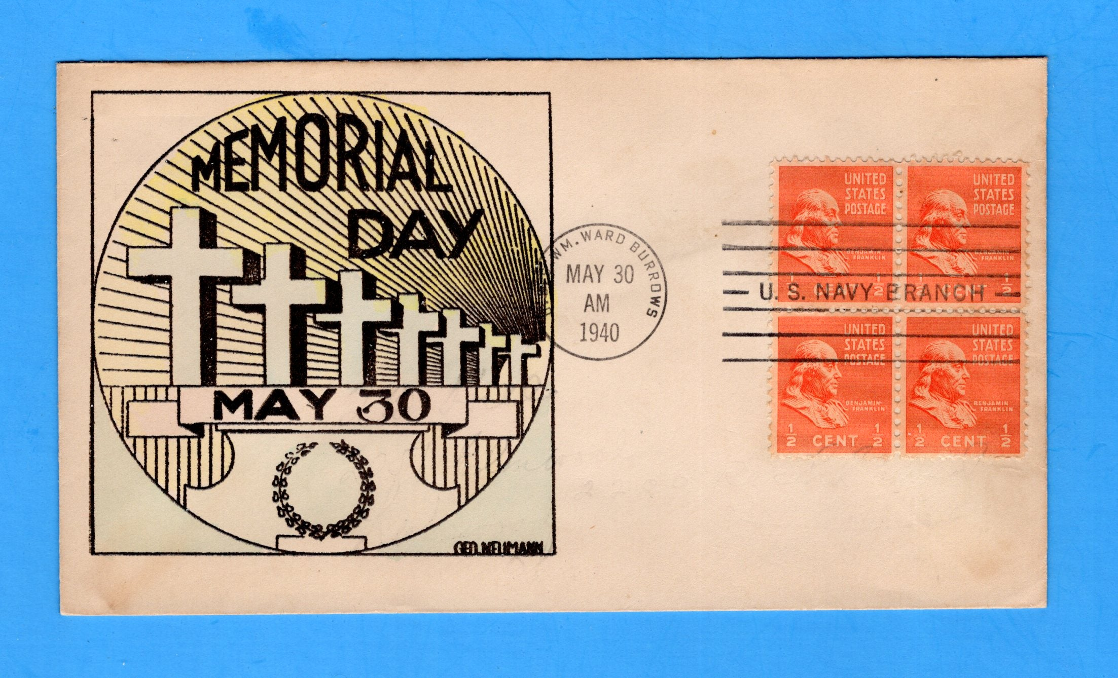 USS William Ward Burrows AP-6 Memorial Day May 30, 1940 - Raised Print Cachet