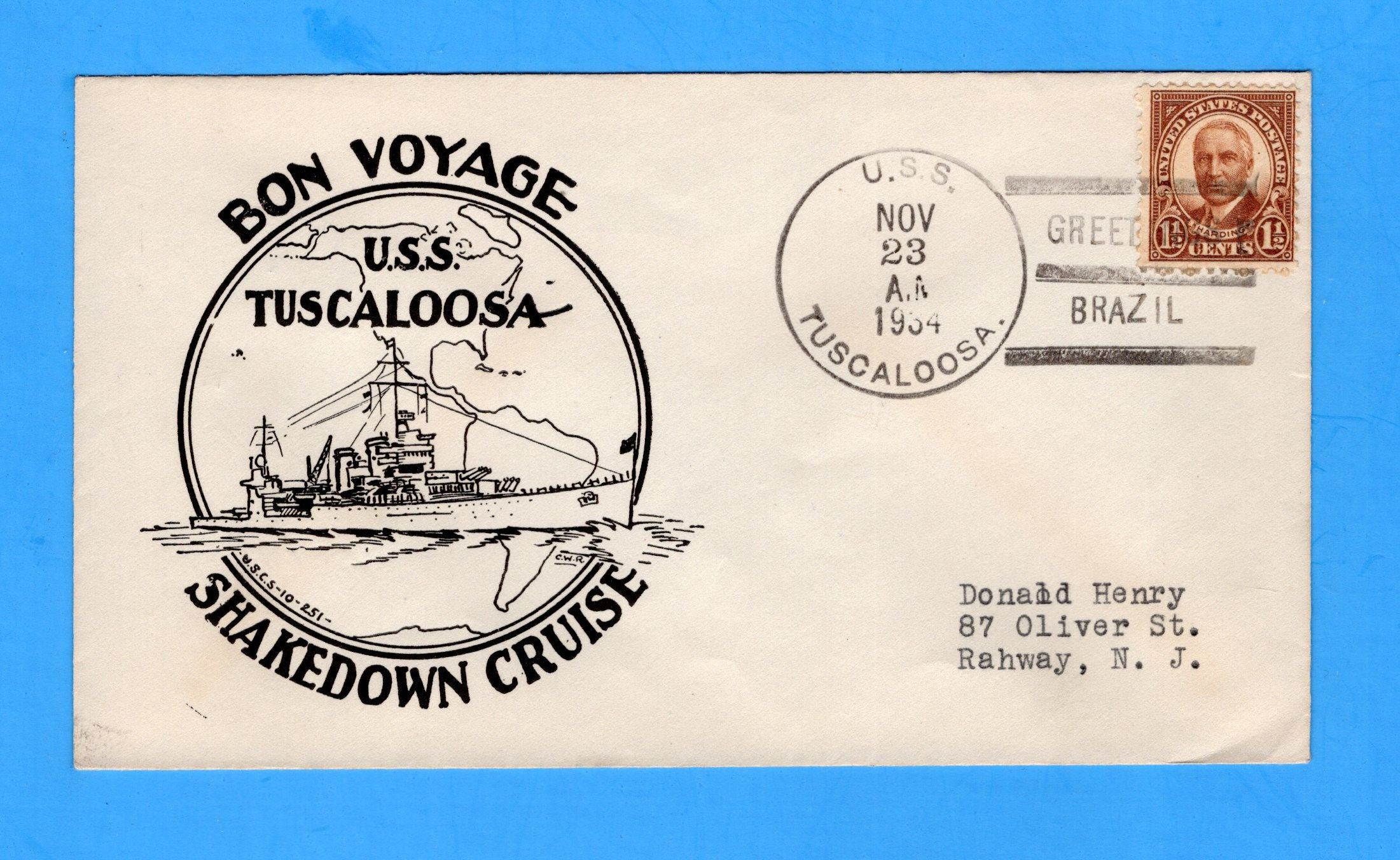 USS Tuscaloosa CA-37 Shakedown Cruise Greetings Brazil November 23, 1934