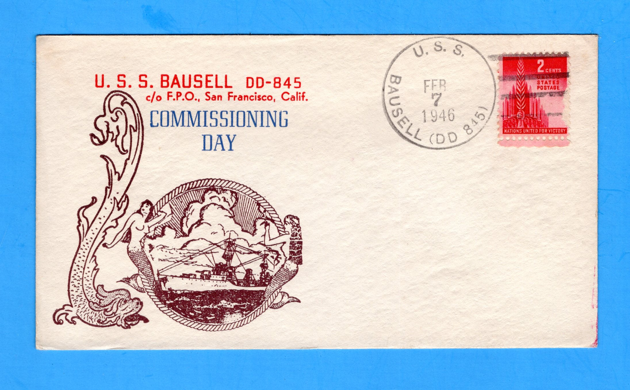 USS Bausell DD-845 Commissioned February 7, 1946