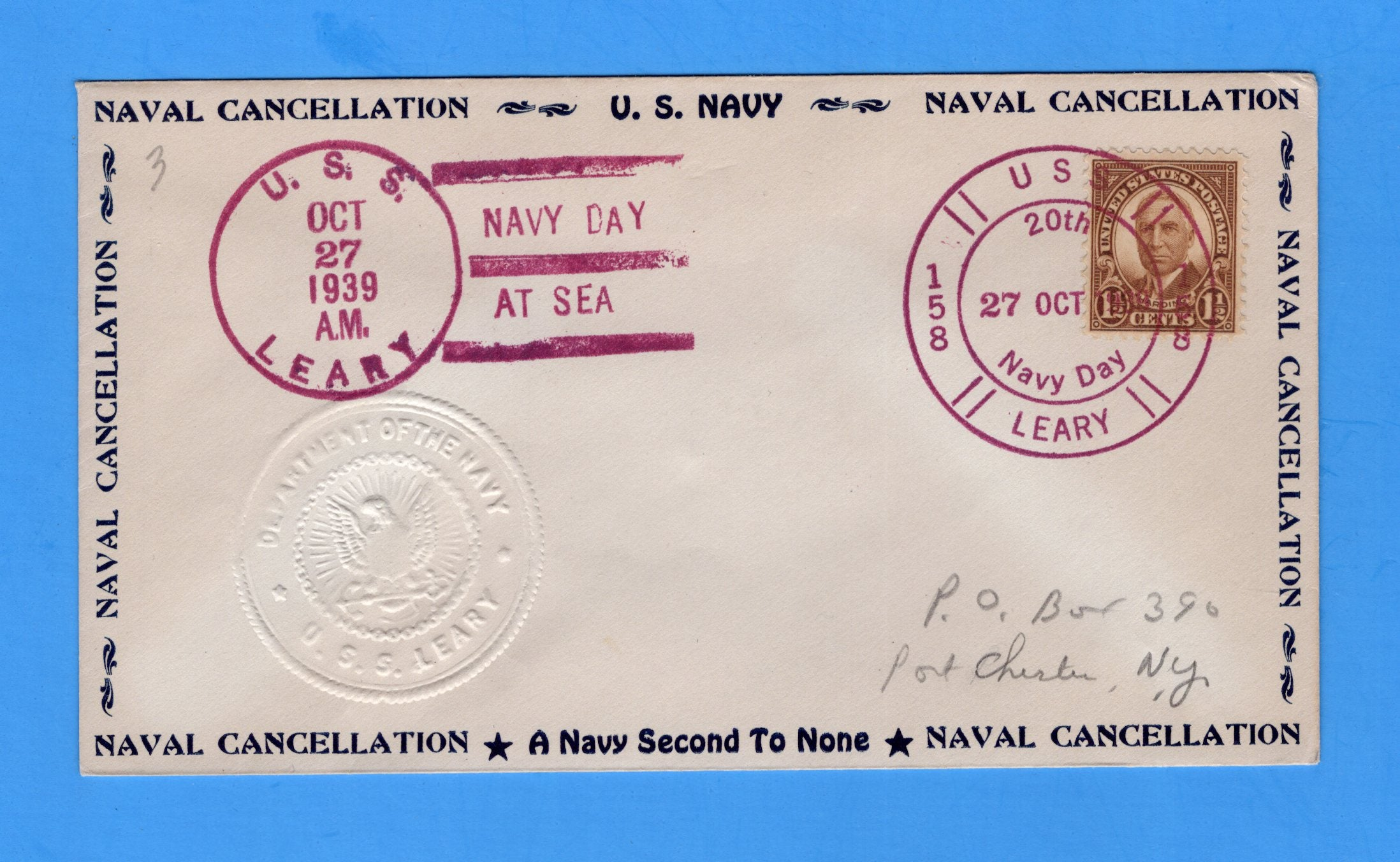 USS Leary DD-158 Navy Day October 27, 1939