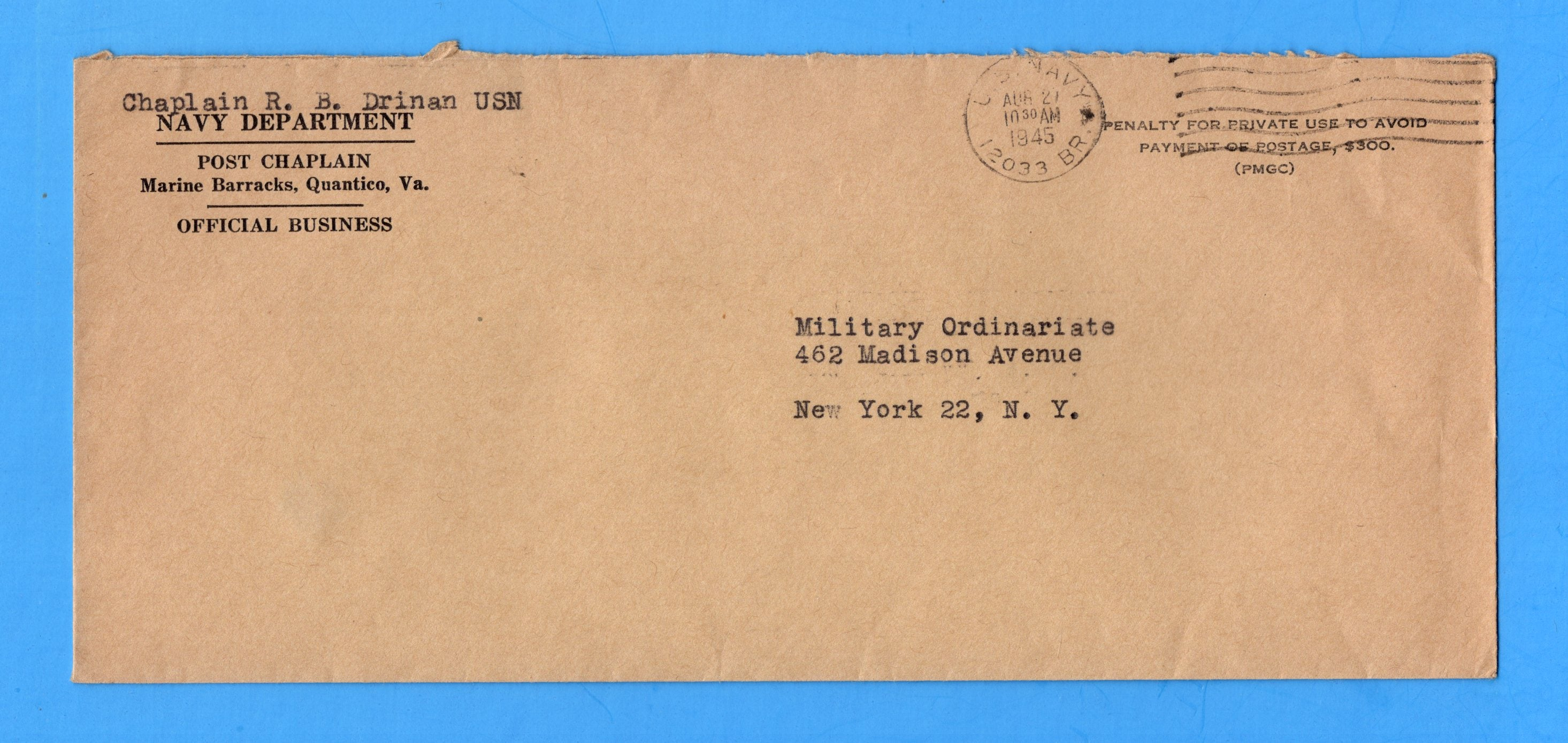Marine Barracks, Quantico 12033 BR Post Chaplain's Official Mail Aug 21, 1945