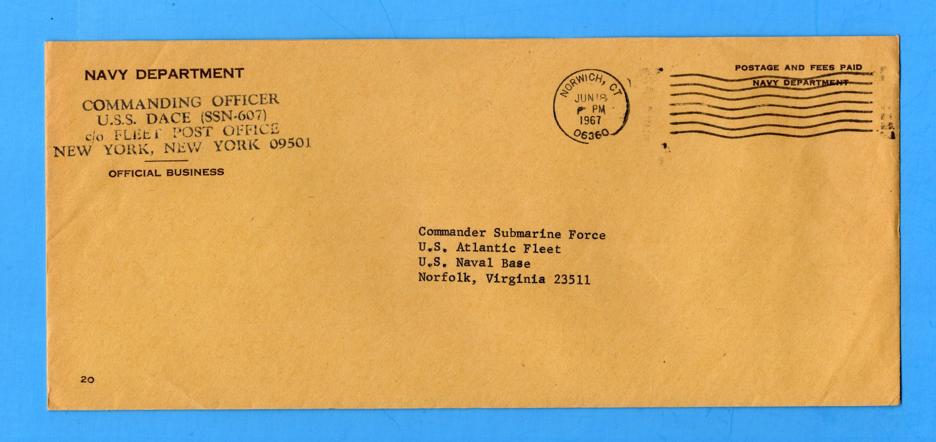 USS Dace SSN-607 Navy Department Official Mail June 18, 1967