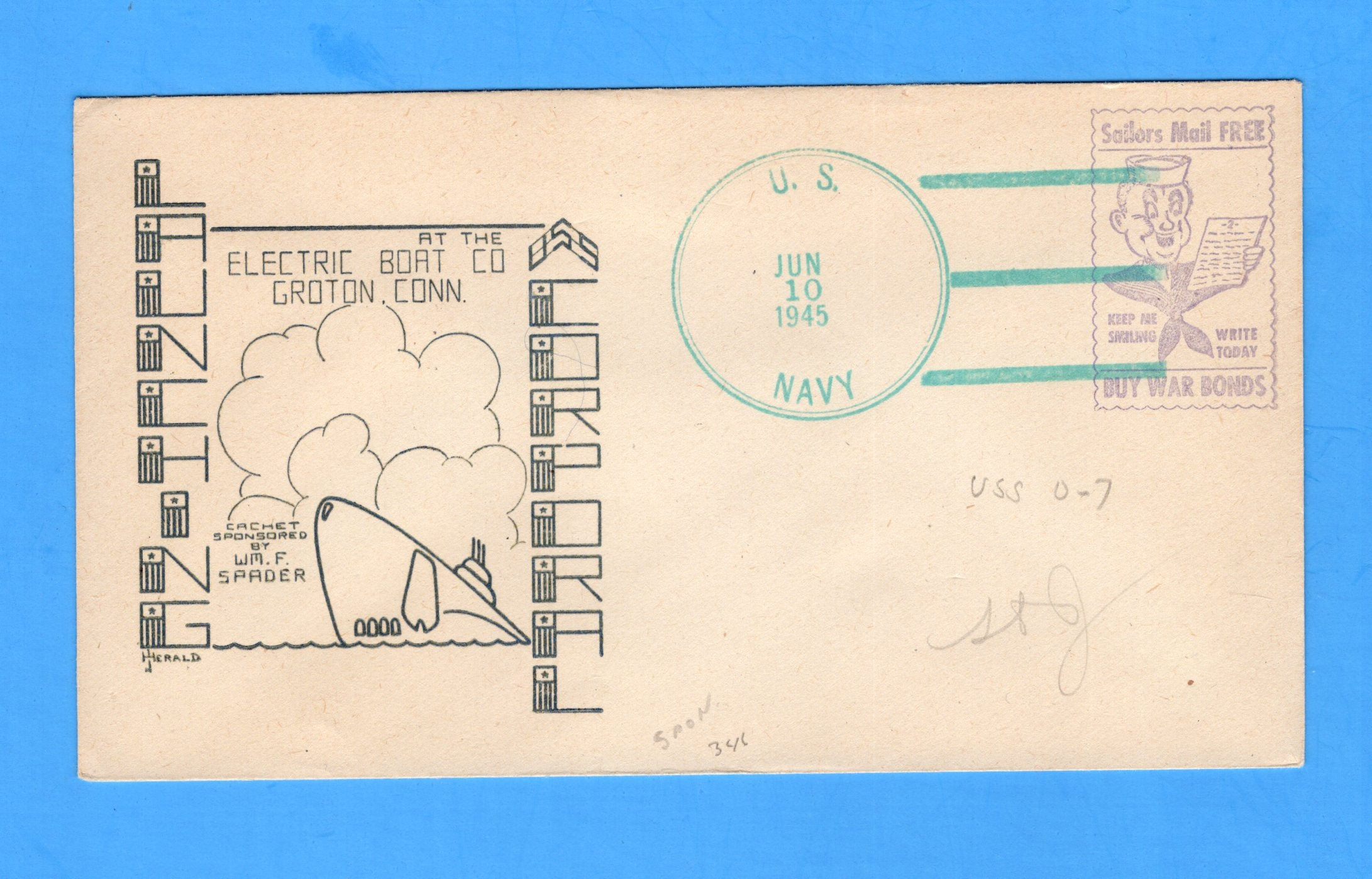 USS Corporal SS-346 Launched June 10, 1945 - Raised Print Cachet