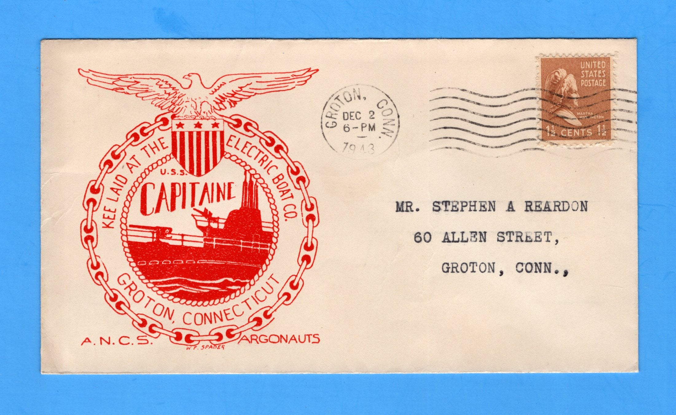 USS Capitaine SS-336 Keel Laid December 2, 1943 - Raised Print Cachet
