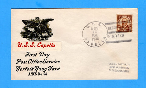 USS Capella AK-13 First Day Recommissioned November 10, 1938 - Raised Print Cachet